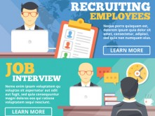 Recruiting employees, job interview flat illustration concepts set